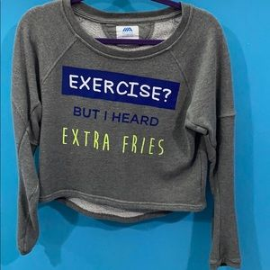 Grey pullover with text